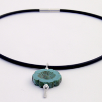 Sterling Silver Turquoise Necklace, Black Rubber
