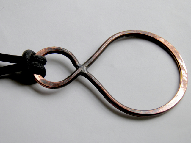 Oxidised Copper Necklace on Leather Large Infinity