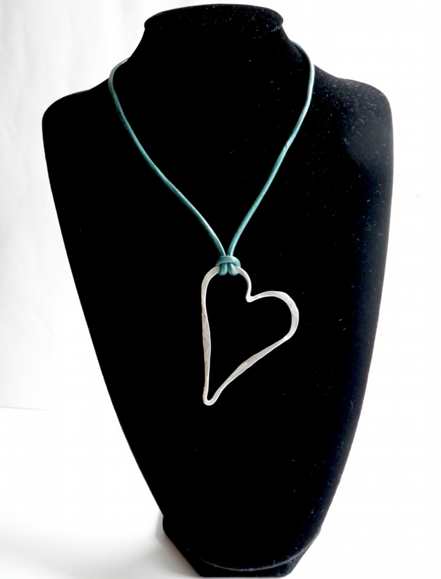 Silver Heart Large Necklace