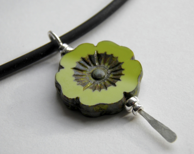 Chartreuse Flower Necklace Sterling Silver, Pendant