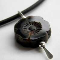 Black Necklace, Flower Pendant, Sterling Silver, Rubber