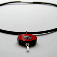 Red Poppy Necklace Sterling Silver Necklace Flower Necklace Rubber Necklace