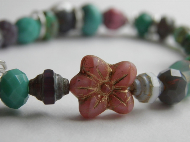 Turquoise, Pink, Purple, Pearl Bead Flower Bracelet with Sterling Silver