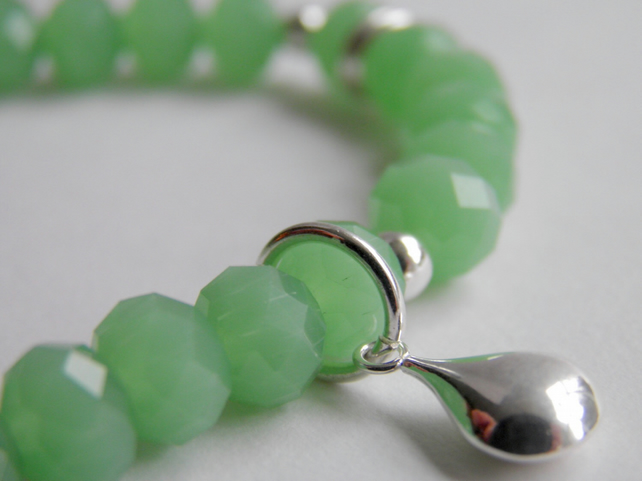 Green Bracelet with Sterling Silver