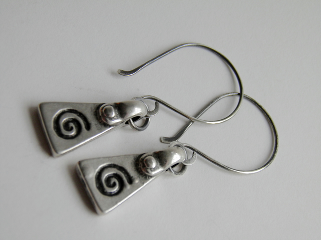 Silver Earrings Spiral Tribal