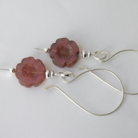 Pink Flower Earrings in Sterling Silver