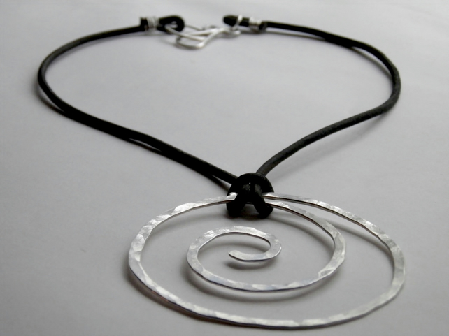 Large Silver Necklace Spiral on Leather