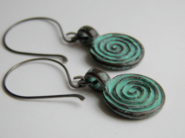 Verdigris Spiral Earrings
