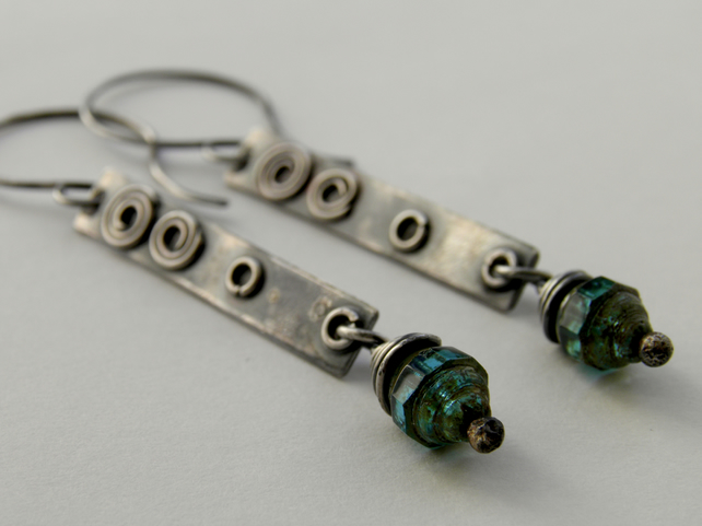 Long Sterling Silver Aqua Blue Earrings