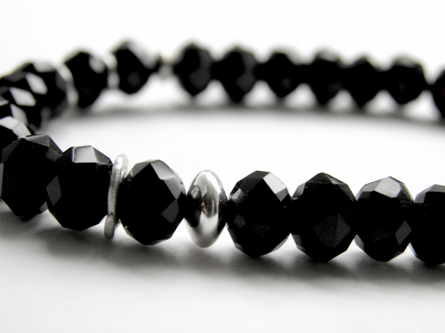 Black Bracelet with Sterling Silver