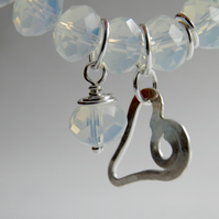White Opalite Bracelet with Sterling Silver Heart Charm