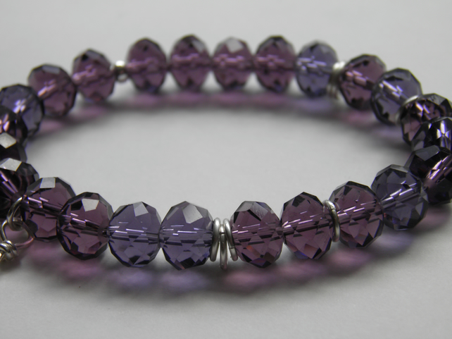 Purple Bead Bracelet with Sterling Silver