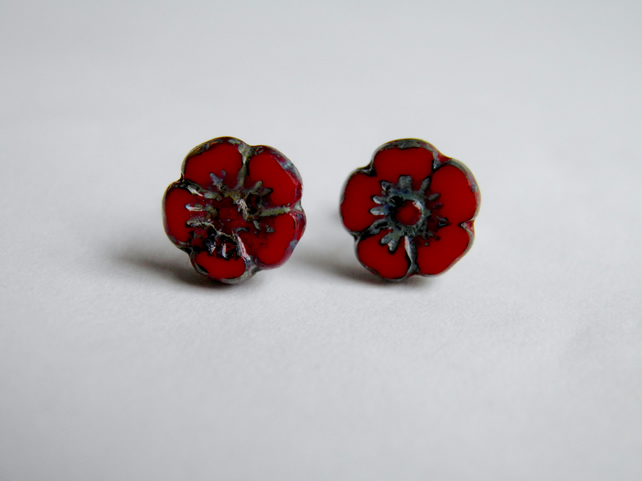 Red Poppy Flower Earrings