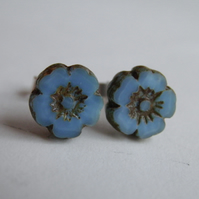 Blue Flower Earrings Sterling Silver Post Stud Small
