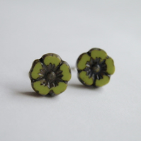 Chartreuse Flower Earrings