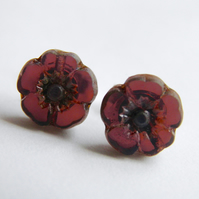 Flower Earrings in Purple