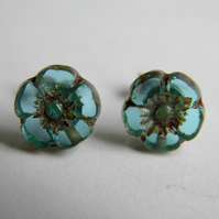 Small Aqua Flower Earrings Sterling Silver Stud Post