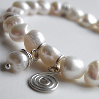 Pearl Bracelet with Sterling Silver Spiral Charm