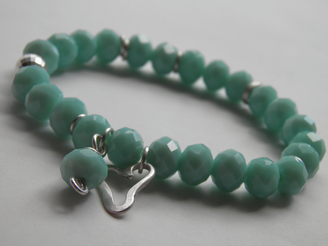 Mint Green Bead Bracelet with Sterling Silver Heart Charm