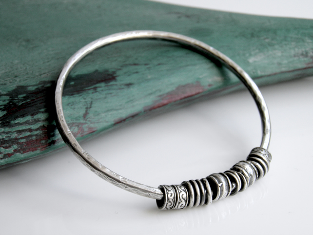 Sterling Silver Bead Bangle