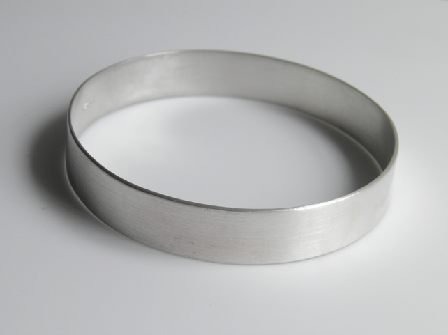 Sterling Silver Bangle, Plain Simple Minimal Design