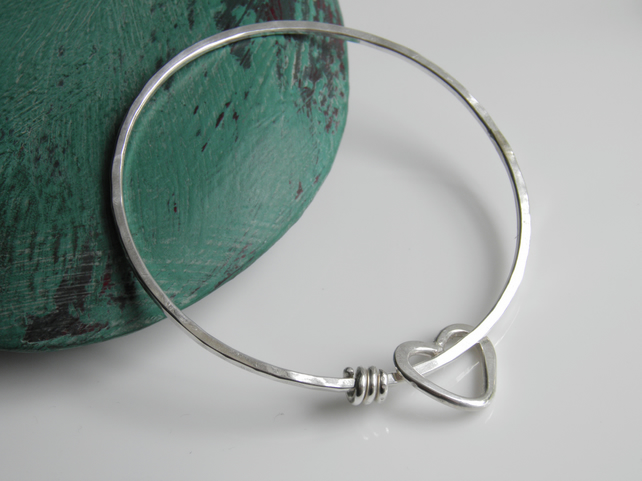 Silver Heart Bangle, Plain Simple Minimal