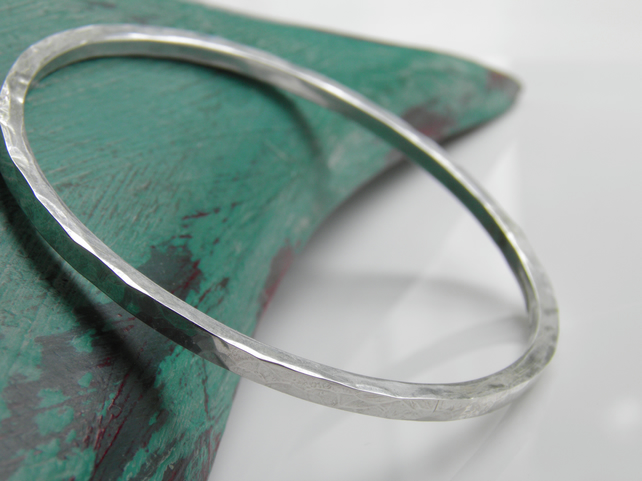 Sterling Silver Bangle Square Wire Bangle, Hammered Design