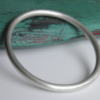 Heavy Sterling Silver Bangle Unpolished