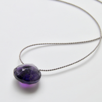 Amethyst Necklace Minimalist Purple Amethyst Gemstone Necklace Sterling Silver