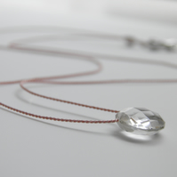 Gemstone Necklace on Silk Clear Rock Crystal Quartz Gemstone Minimalist Necklace