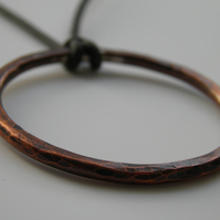 Copper Necklace on Leather Large Circle Handcrafted