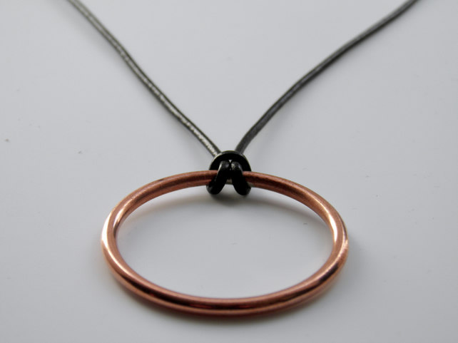 Copper Circle Necklace on Leather