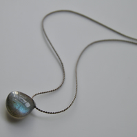 Blue Flash Labradorite Silk Necklace