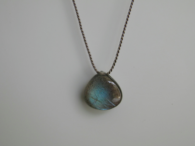 Labradorite Necklace on Silk Thread Minimalist Labradorite Gemstone Necklace