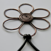 Large Copper Flower Necklace on Leather, Handcrafted Flower Pendant
