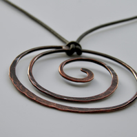 Copper Spiral Necklace on Leather