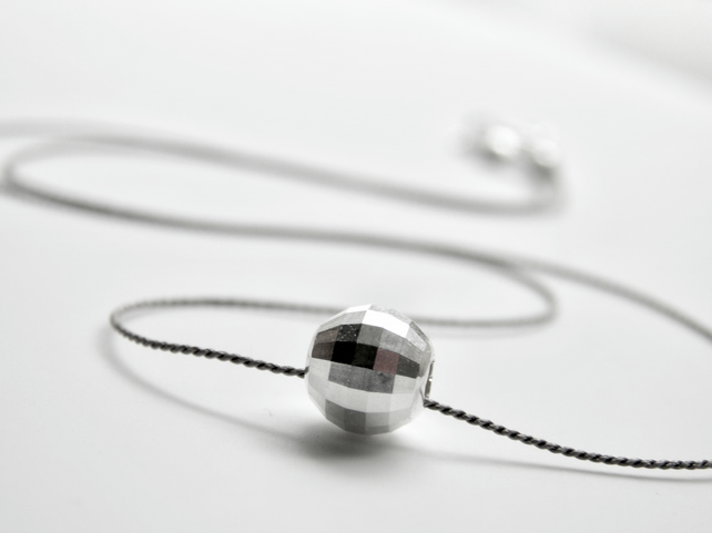 Minimalist Sterling Silver Necklace on Silk