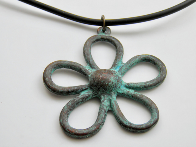 Large Copper Flower Necklace on Rubber