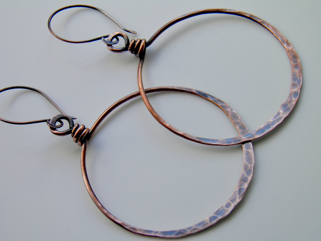 Large Oxidised Copper Hoop Earrings