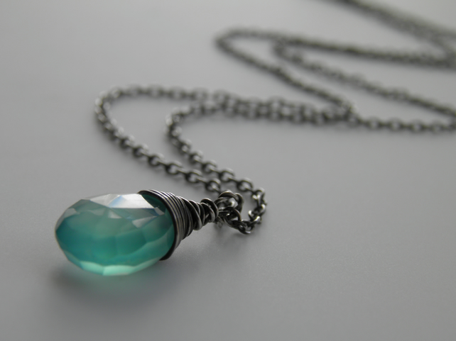 Aqua Chalcedony Sterling Silver Gemstone Necklace
