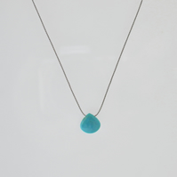 Minimalist Turquoise Gemstone Necklace on Silk - Sleeping Beauty Turquoise