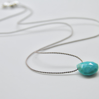 Minimalist Turquoise Gemstone Necklace on Silk