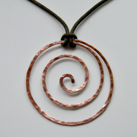 Copper Pendant on Leather