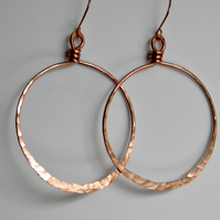 Large Handcrafted Copper Hoop Earrings