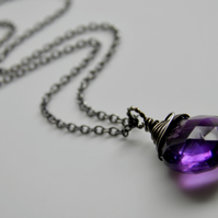 Purple Amethyst Necklace on Sterling Silver