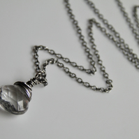 Rock Crystal Clear Quartz Necklace on Sterling Silver