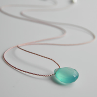 Aqua Blue Chalcedony Gemstone Necklace