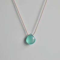 Gemstone Silk Necklace Aqua Blue Chalcedony Minimalist Necklace