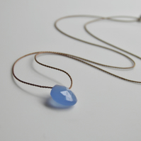 Blue Chalcedony Gemstone Necklace on Silk Minimal