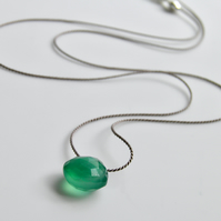 Emerald Green Onyx Gemstone Necklace on Silk